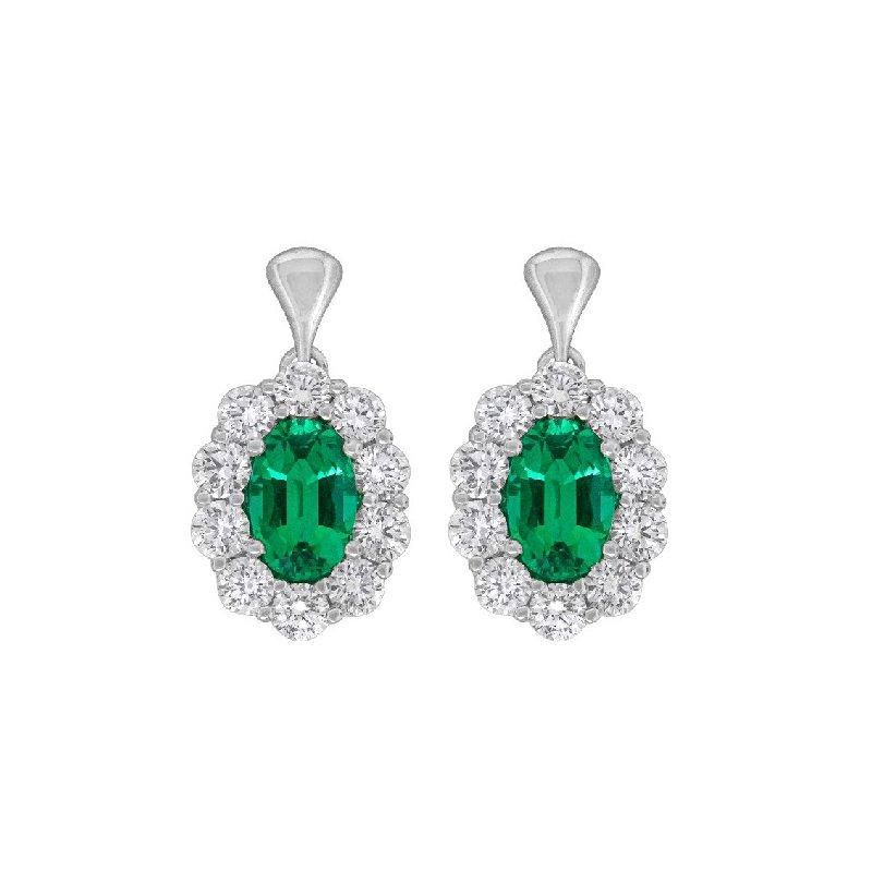 Spark Creations EMERALD AND DIAMOND EARRINGS