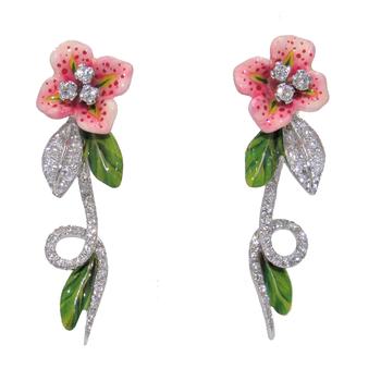 BERGIO ENAMEL AND DIAMOND FLOWER EARRINGS
