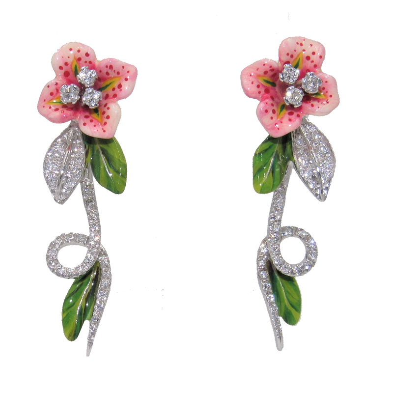 Bergio BERGIO ENAMEL AND DIAMOND FLOWER EARRINGS