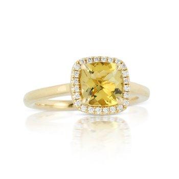 YELLOW BERYL AND DIAMOND RING