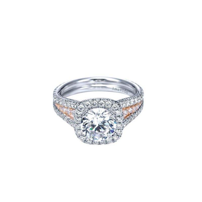 Amavida 14K White-Rose Gold Round Halo Diamond Engagement Ring