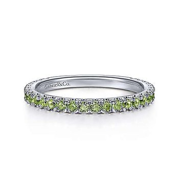 WHITE GOLD PERIDOT STACKABLE RING