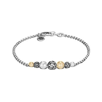 Classic Chain Station Hammered Bracelet