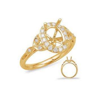 YELLOW GOLD DIAMOND HALO ENGAGEMENT RING