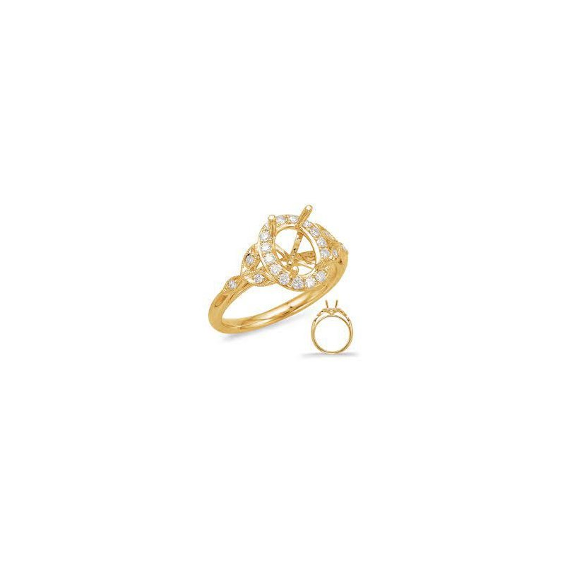 Mazzarese Couture YELLOW GOLD DIAMOND HALO ENGAGEMENT RING
