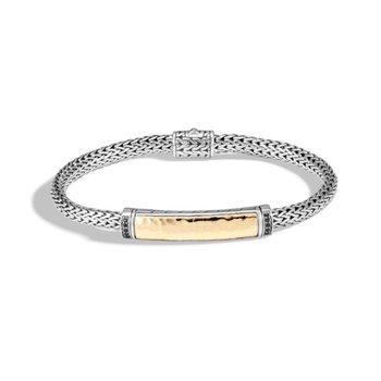 Classic Chain Hammered Station Bracelet