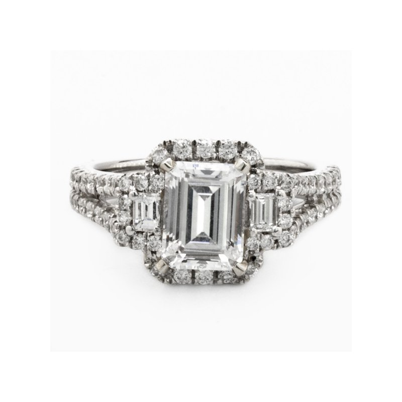 Mazzarese Couture WHITE GOLD 3-STONE EMERALD HALO ENGAGEMENT RING