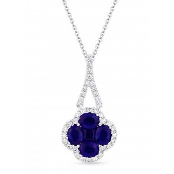 SAPPHIRE AND DIAMOND CLOVER NECKLACE