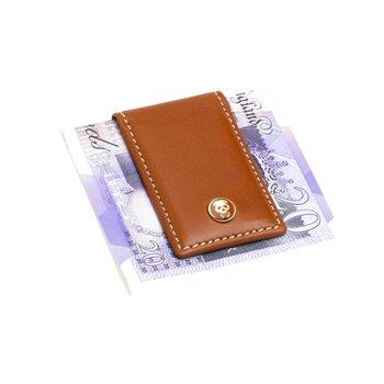 MONEY CLIP TANLTHR        SKULL SLV