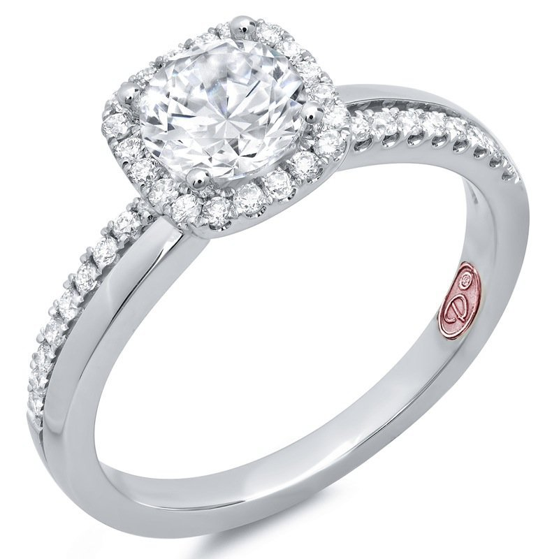 MAZZARESE Couture WHITE GOLD DIAMOND HALO ENGAGEMENT RING