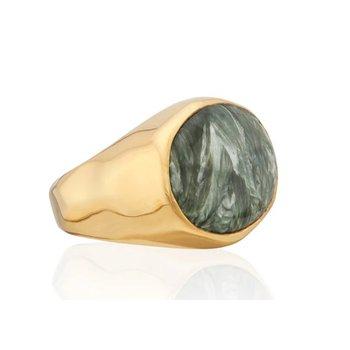 Seraphinite Oval Signet Ring