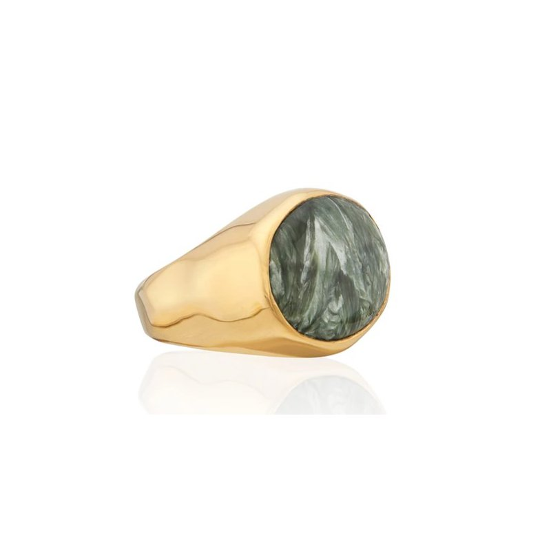 Anna Beck Seraphinite Oval Signet Ring