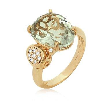 Vianna B.R.A.S.I.L. Prasiiolite and Diamond Ring