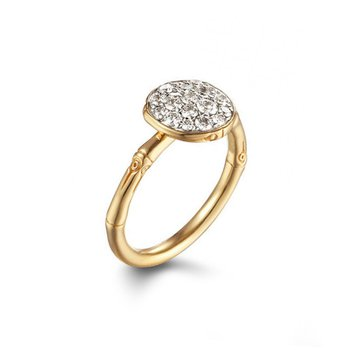 Bamboo Pave Disc Diamond Ring 18 Yellow Gold