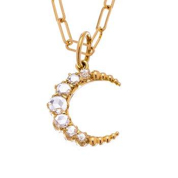 Sethi Couture Crescent Rose Cut Diamond Necklace