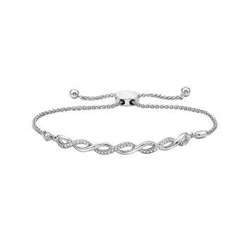 White Gold Braided Pull-Thru Bracelet