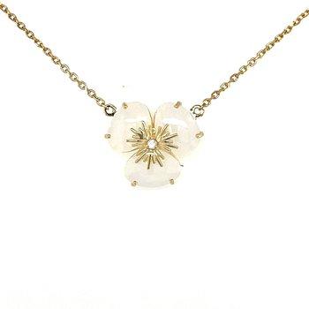 Vianna B.R.A.S.I.L. Pansy Opal Quartz and Diamond Necklace