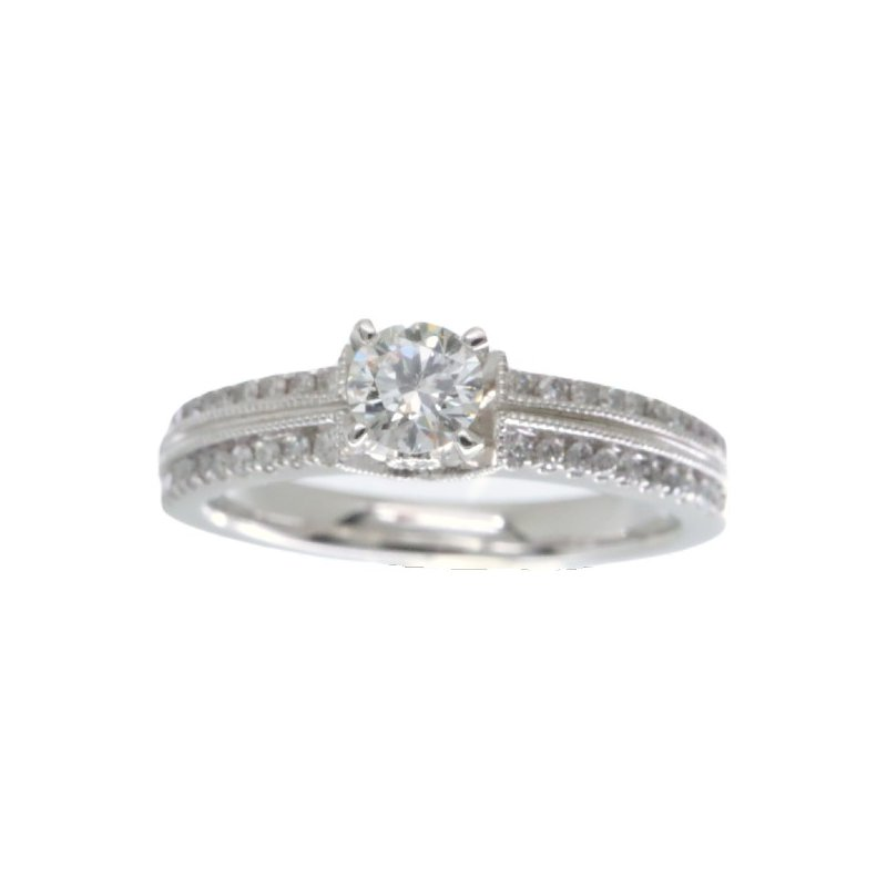 MAZZARESE Bridal WHITE GOLD SOLITAIRE ENGAGEMENT RING