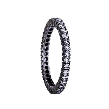 Sethi Couture Prong White Diamond Black Rhodium Band