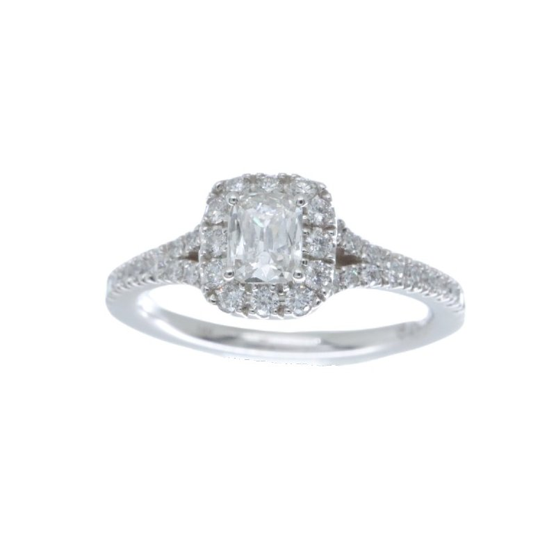 MAZZARESE Bridal CUSHION CUT DIAMOND HALO ENGAGEMENT RING