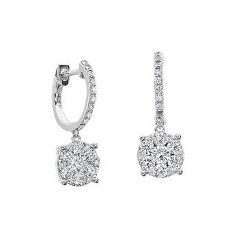A.LINK DIAMOND CLUSTER DROP HOOP EARRINGS