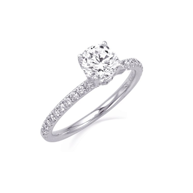 MAZZARESE Couture WHITE GOLD DIAMOND SOLITAIRE ENGAGEMENT RING