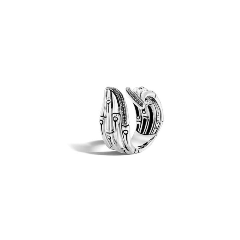 JOHN HARDY Bamboo Silver Ring with Black Sapphire