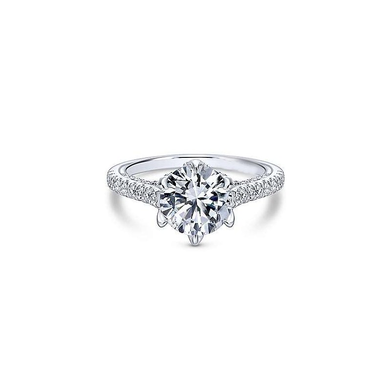 Amavida 18K White Gold Round Diamond Engagement Ring
