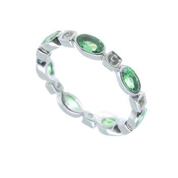 TSAVORITE AND DIAMOND ETERNITY RING