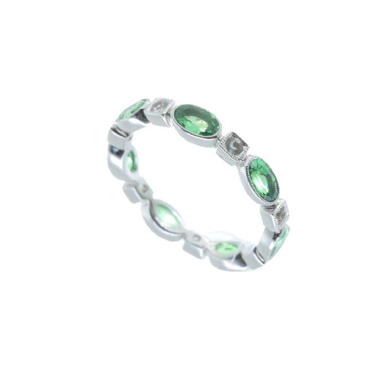 Beverley K TSAVORITE AND DIAMOND ETERNITY RING