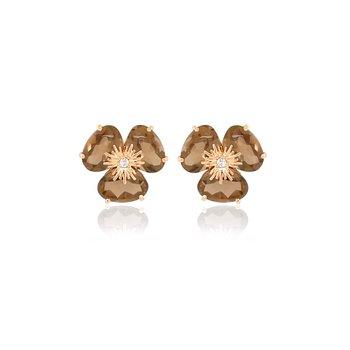 Vianna B.R.A.S.I.L. Pansy Smokey Quartz Earrings