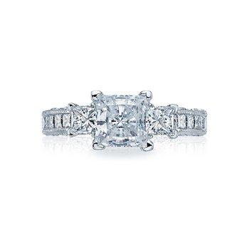 TACORI CLASSIC CRESCENT PLATINUM PRINCESS CUT DIAMOND ENGAGEMENT RING