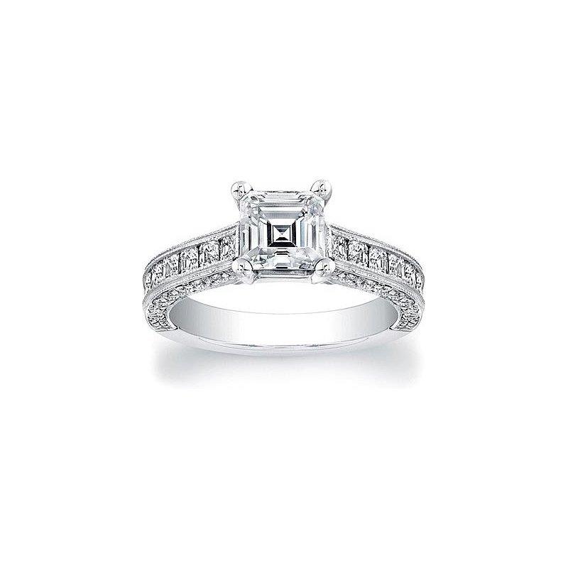 MAZZARESE Bridal PLATINUM PRINCESS CUT SOLITAIRE ENGAGEMENT RING