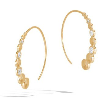 Hammered Drop Earring with Diamonds