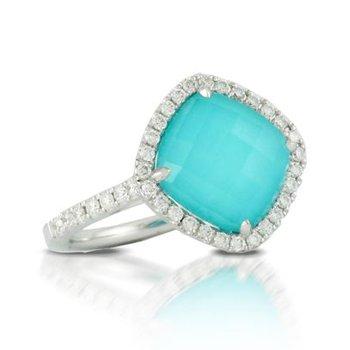 BLUE TURQUOISE, QUARTZ, DIAMOND RING