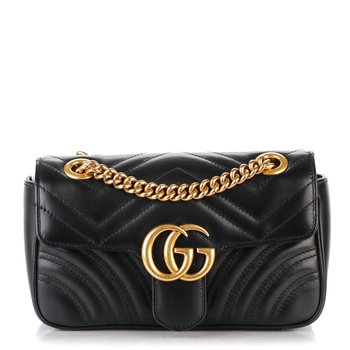 GUCCI Calfskin Matelasse Mini GG Marmont Shoulder Bag Black