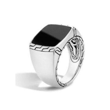 Men's Classic Chain Silver Signet Black Jade Ring