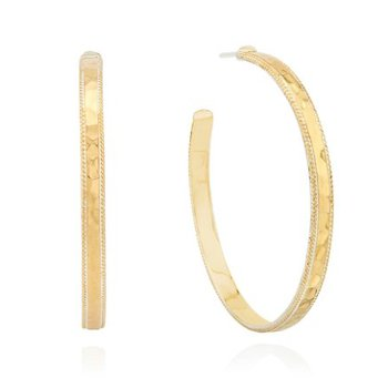 ANNA BECK LARGE HAMMERED HOOP EARRINGS - GOLD