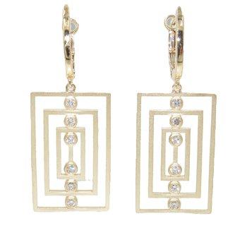Tri-Rectangle Diamond Drop earrings