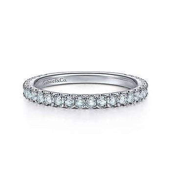 WHITE GOLD SKY BLUE TOPAZ STACKABLE BAND