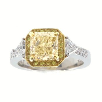 YELLOW AND WHITE DIAMOND RING