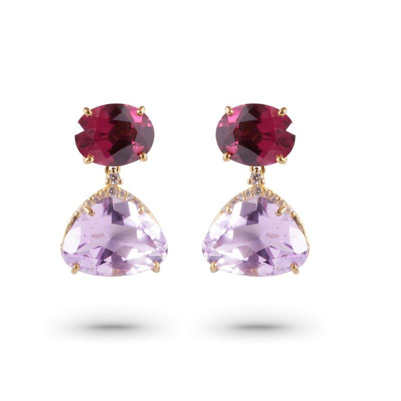 Vianna Vianna B.R.A.S.I.L. Amethyst and Rhodolite Drop Earrings