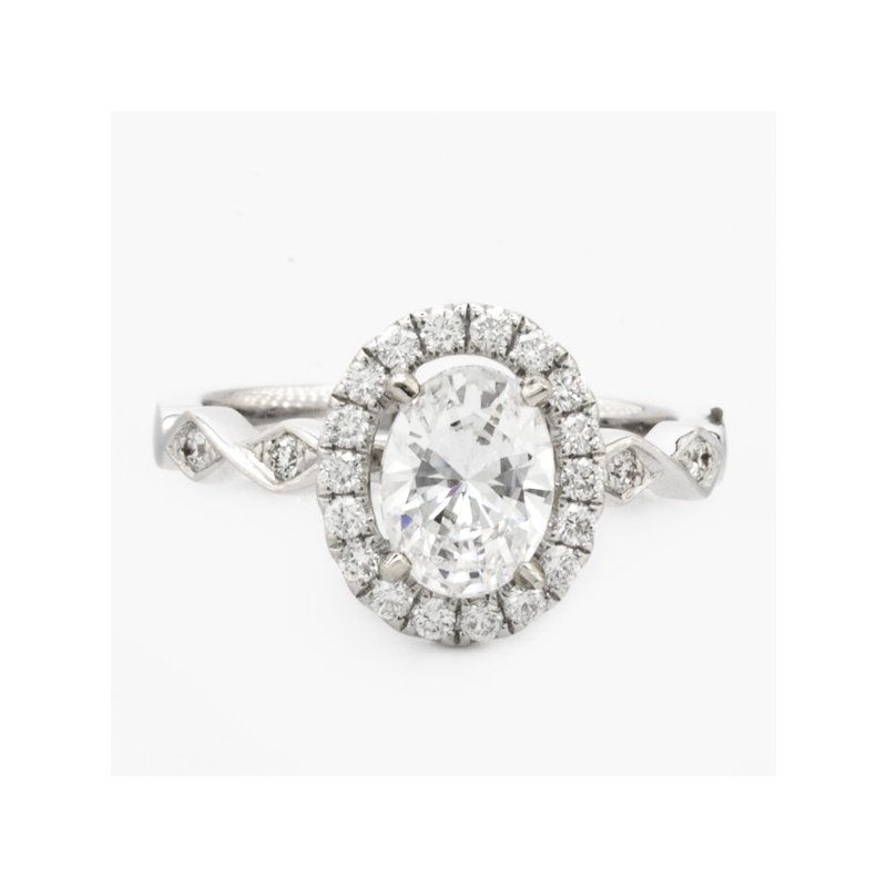 MAZZARESE Couture WHITE GOLD OVAL HALO ENGAGEMENT RING