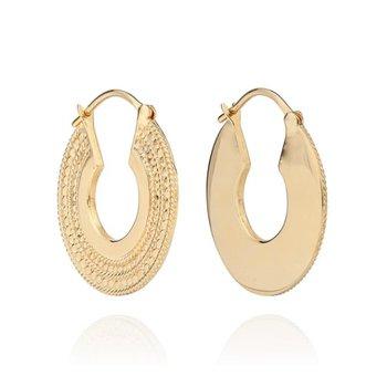 Medium Smooth and Dotted Hoop Earrings