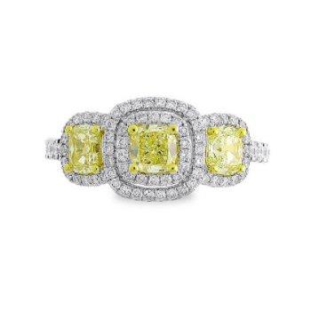 3-STONE YELLOW DIAMOND HALO RING