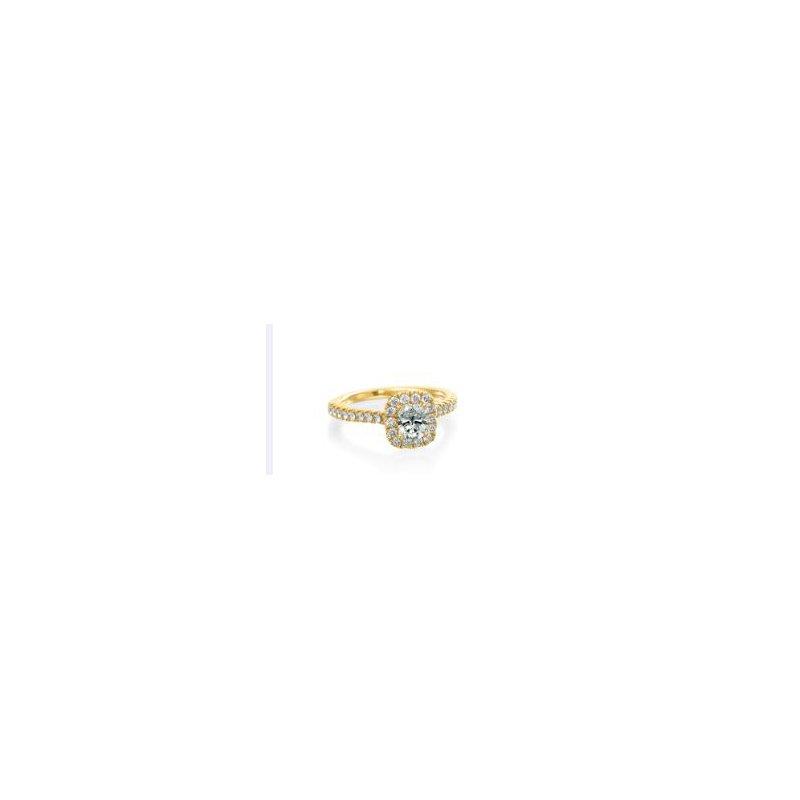 MAZZARESE Bridal YELLOW GOLD HALO ENGAGEMENT RING