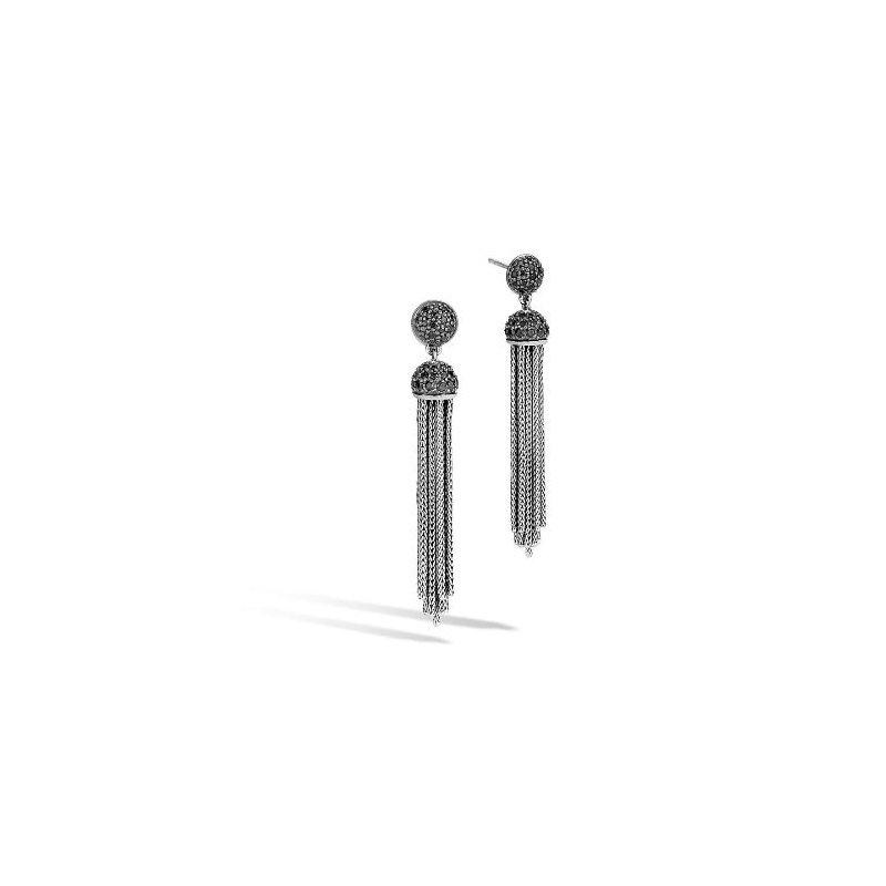 JOHN HARDY Classic Chain Tassel Earring In Black Spinel