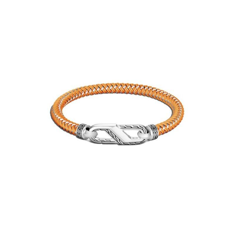 JOHN HARDY Classic Chain Silver Bracelet on Orange steel Cord