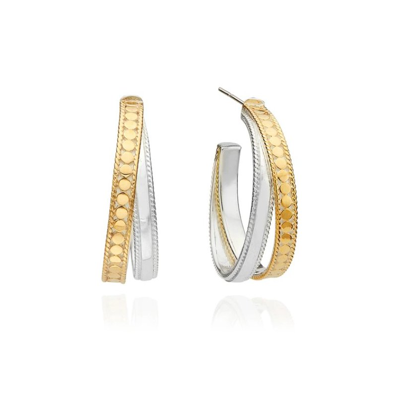 Anna Beck Mixed Metal Crossover Hoop Earrings - Gold & Silver