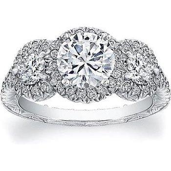 3-STONE DIAMOND HALO ENGAGEMENT RING